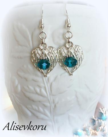 4063 Alise Design siipien suojassa korvakorut kristalli/helmi