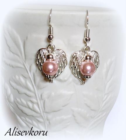 4063,1 Alise Design siipien suojassa korvakorut kristalli/helmi