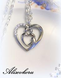 3393 Alise Design Kristallisydän kaulakoru äiti/lapsi