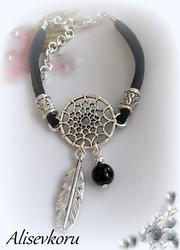 3584 Alise Design Käsikoru - nahka, ketju, kristalli, helmi   VALITSE