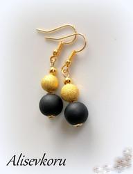 3833 Alise Design Helmi korvakorut, kulta/ musta