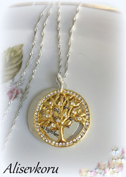 3906 Alise Design  Elämänpuu kristalli tekstikaulakoru