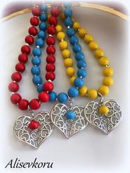 3908 Alise Design Puuhelmi sydän - korusetti