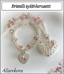 3912 Alise Design Sydänkorusetti kristalli/helmi, omalla tekstillä