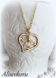 3957 Alise Design Sydämmet kaulakoru kulta, kristallilla