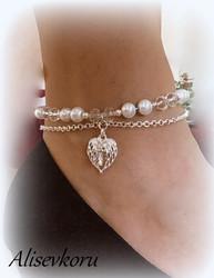 4081 Alise Design  Helmi/kristalli nilkkakoru , valitse väri
