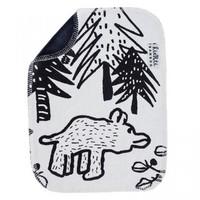 Kierti bambuinen tiskirätti/siivousliina Karhu,  mustavalkoinen, musta tausta