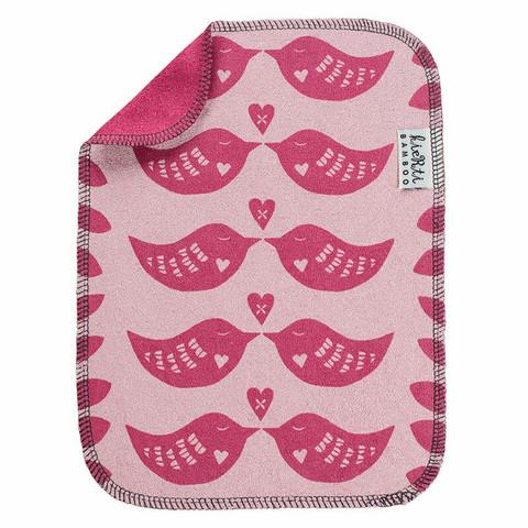 Kierti  bambuinen tiskirätti/siivousliina Sydänkäpyset, vadelmanpunainen