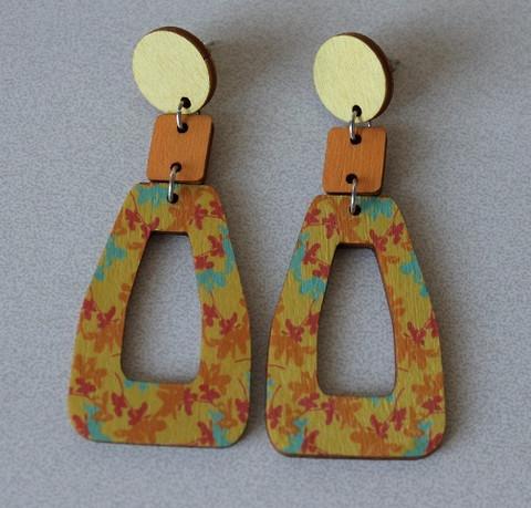 Kukkiva-korvakorut koivuvaneria kelta-oranssi-turkoosi