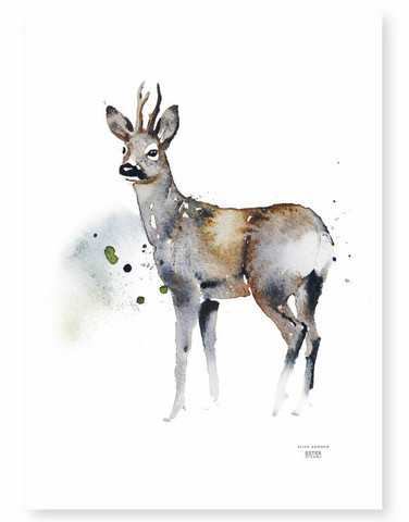 Ester Visual: Seisova metsäkauris talviasussaan 50x70 cm,