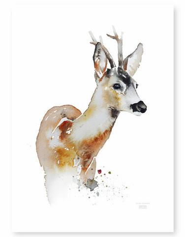 Ester Visual: Metsäkauris kesäasussaan 30x40 cm