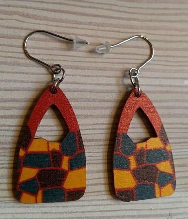 ILoLLA Linna- korvakorut väri petrooli-keltainen-punainen