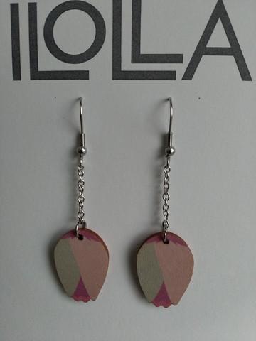Nuppu-korvakorut koukulla, roosa-harmaa