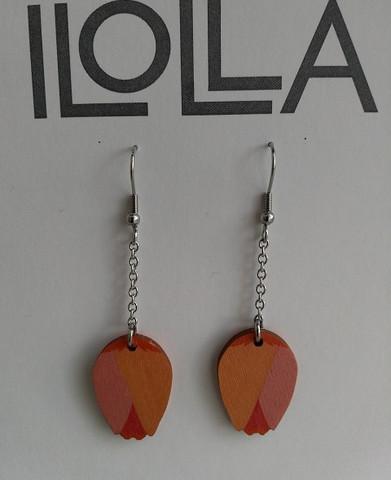 Nuppu-korvakorut koukulla, oranssi-punainen