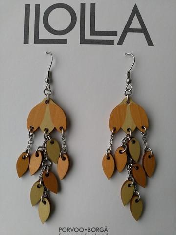 Pisaroi-korvakorut koukulla, v.keltainen-appelsiininkeltainen