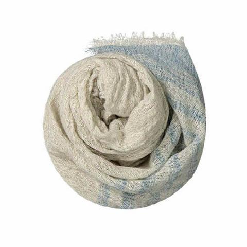 Sarastus-huivi indigonsininen-luonnonväri, koko 75x180 cm