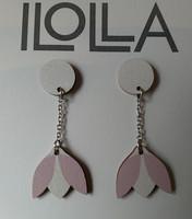 Lumikello-nappiskorvakorut, roosa-valkoinen