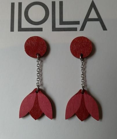 Lumikello-nappiskorvakorut rubiini-vadelma