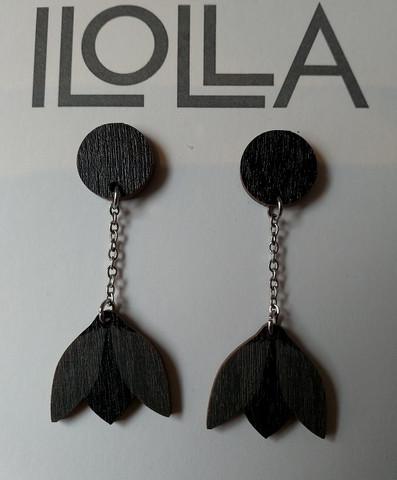 Lumikello-nappiskorvakorut musta-grrafiitti