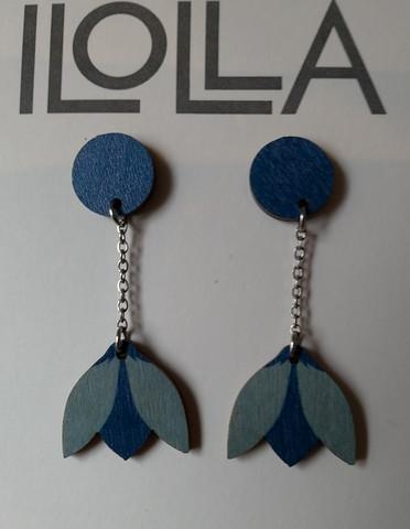 Lumikello-nappiskorvakorut sininen-vaaleansininen