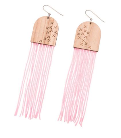 Porvoo-korvakorut koukulla, vaaleanpunainen