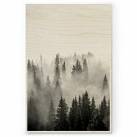 Plywood Print: MISTY FOREST 30x40 cm