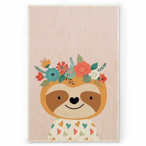 Plywood Print: SLOTH 30x40 cm