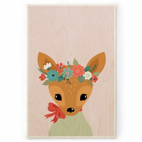 Plywood Print: DEER 30x40 cm