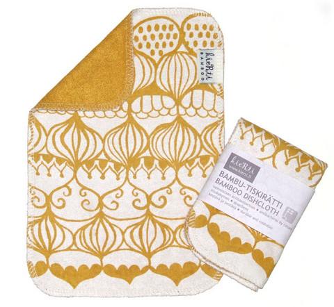 Kierti bambuinen tiskirätti/siivousliina Sipulikupoli, keltavalkoinen