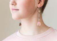 Pyhtää-korvakorut koukulla, roosa