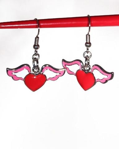 Punaiset lentävä sydän -korvakorut