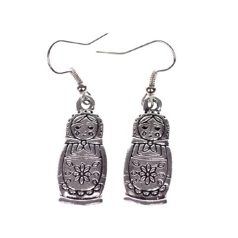 Silver Colored Matryoshka Earrings