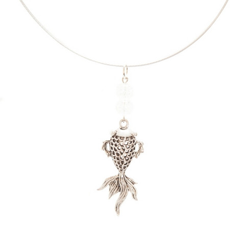 Silver colored koi fish necklace koruharakka silver colored koi fish necklace aloadofball Image collections