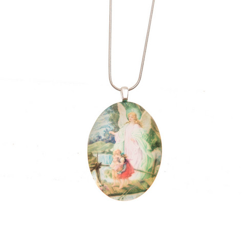 catholic the angel silver necklace company sterling guardian