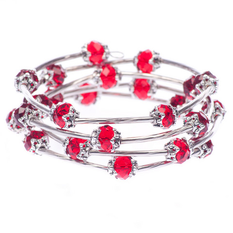 Kaunis punainen kierrerannekoru lasihelmillä
