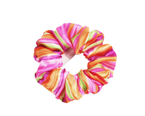 Monivärinen scrunchie / hiusdonitsi.