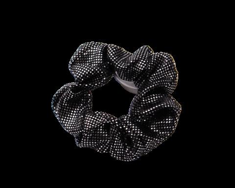 Musta scrunchie / hiusdonitsi hopeisilla pilkuilla.