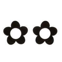 Mustat kukka-nappikorvakorut