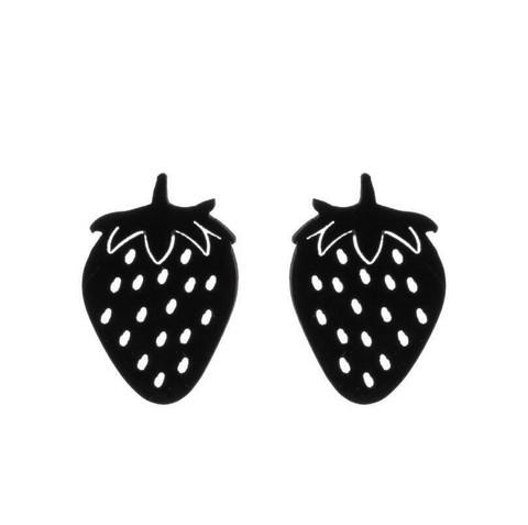 Mustat mansikka-nappikorvakorut
