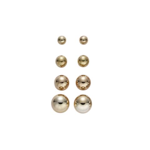 Kultaiset pallo-nappikorvikset (eri kokoja)