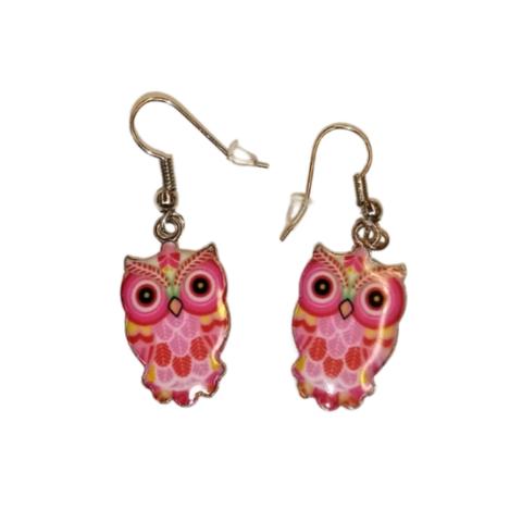 Somat pöllö-korvakorut (pinkki/musta)