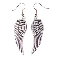 Trendy silver colored wing earrings