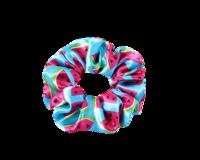 Värikäs scrunchie / hiusdonitsi, sininen tai punainen