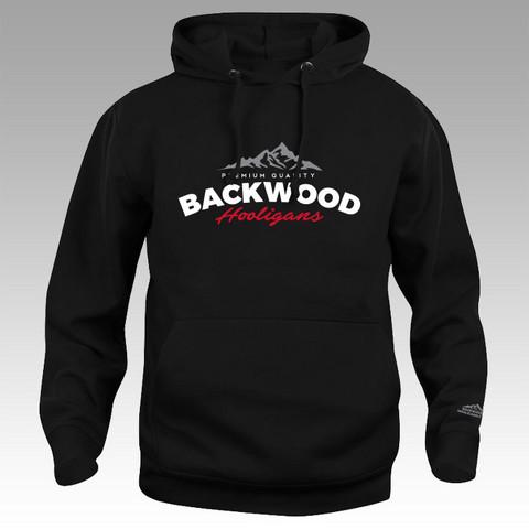 Backwood Hooligans® musta vetoketjuton huppari (vuorilogo)