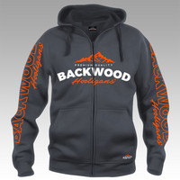 Backwood Hooligas® hoodie with orange prints (full zip)