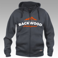 Backwood Hooligas® hoodie with orange print (full zip)
