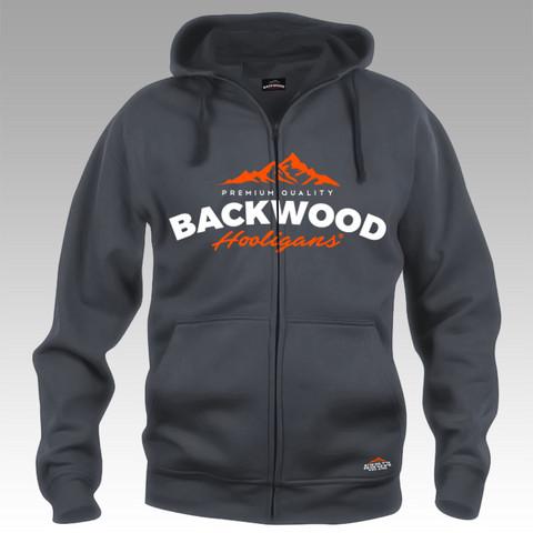 Backwood Hooligas® hoodie with orange print (full zip)