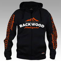 Backwood Hooligas® black hoodie with orange prints (full zip)