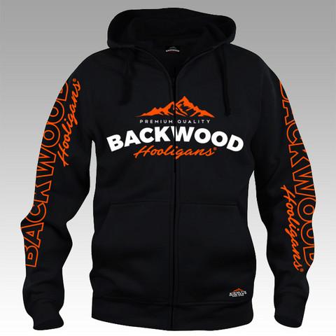 Backwood Hooligas® black hoodie with orange prints (full zip)