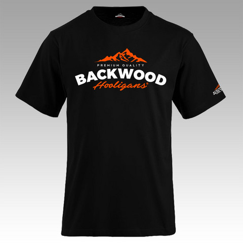 Backwood Hooligans® Black T-shirt with orange print